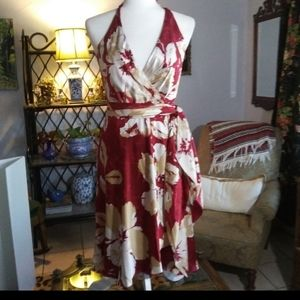 BCBGMAXAZRIA 100% Silk Wrap Dress SZ 4